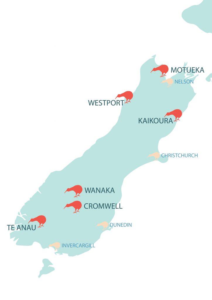 Isla sur de Nueva Zelanda ciudades principales