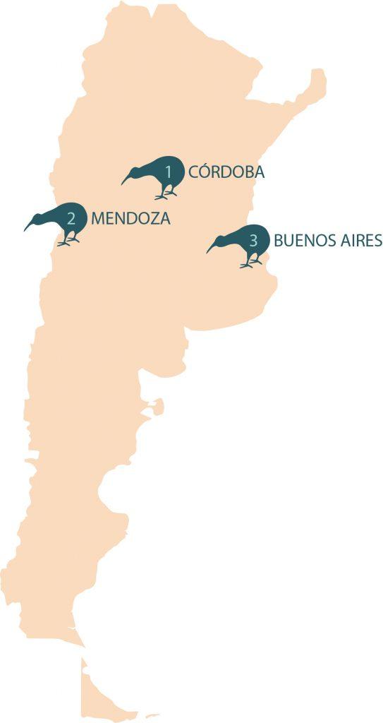 Numero de centros eMedical por Ciudades en Argentina