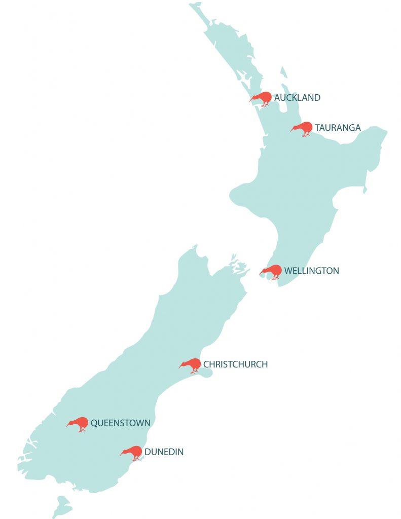 Montaje ciudades mas pobladas isla norte de Nueva Zelanda