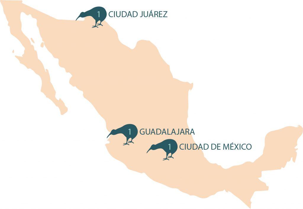 Numero de centros eMedical por Ciudades en México