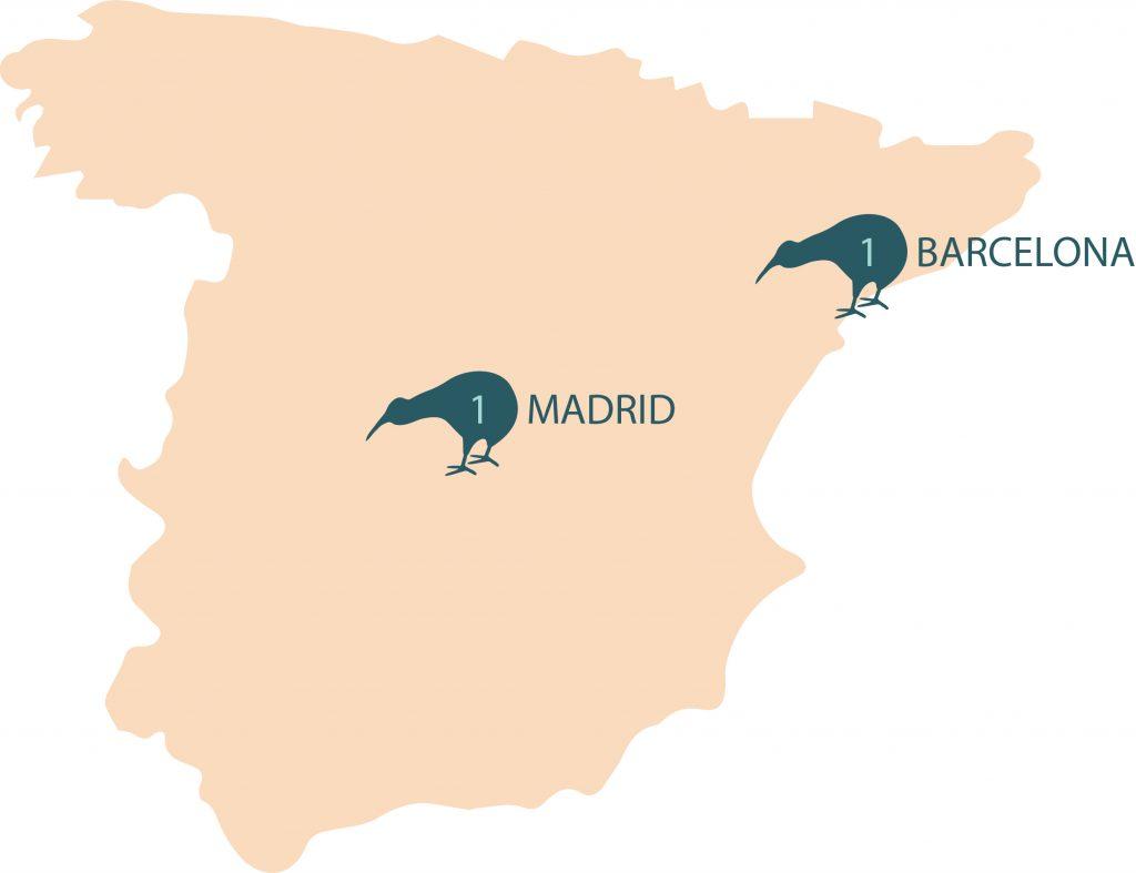 Numero de centros eMedical por Ciudades en España