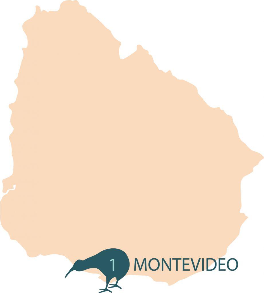 Numero de centros eMedical por Ciudades en Uruguay